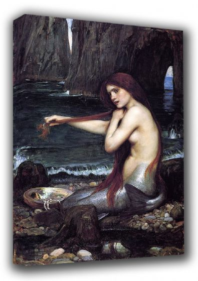 Waterhouse, John William: The Mermaid. Mythical Fine Art Canvas. Sizes: A3/A2/A1 (00848)